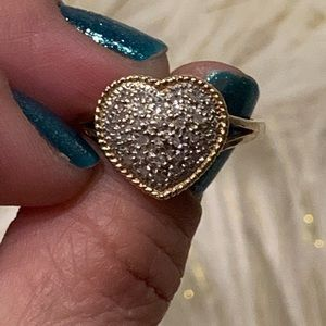💍10k Solid Gold Big Heart Diamond Ring💍
